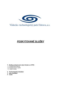 Služby poskytované ve VTPO - Vědecko