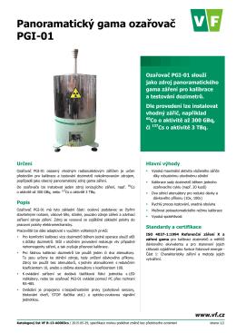 Katalogový list Panoramatický gama ozařovač PGI-01