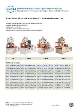 Technické parametry a velikostní rozdělení strojů