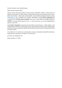 Hromadný e-mail poslaný studentům před začátkem semestru
