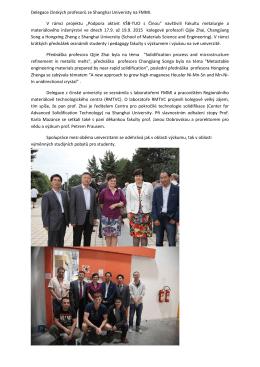 Delegace čínských profesorů ze Shanghai Univeristy na FMMI. V