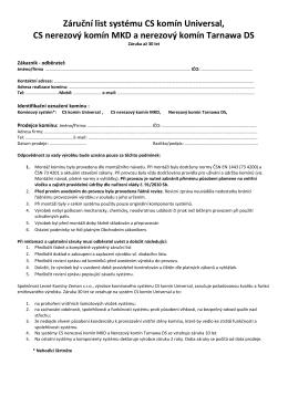 Záruční list systému CS komín Universal, CS nerezový komín MKD a