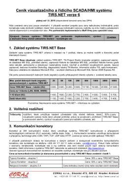 Ceník vizualizačního a řídicího SCADA/HMI systému