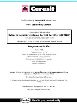 Odborný seminář systému Ceresit Ceretherm(ETICS)