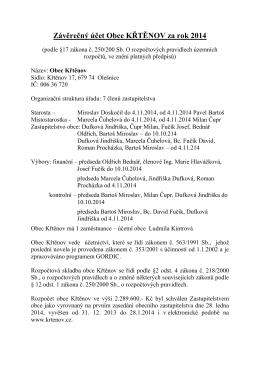 Závěrečný účet Obce KŘTĚNOV za rok 2014