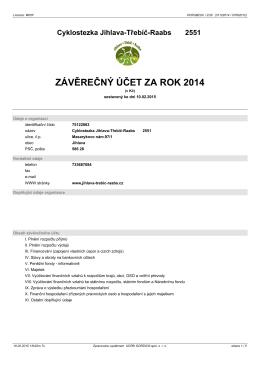 Závěrečný účet za rok 2014 - Cyklostezka Jihlava – Třebíč – Raabs