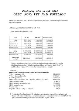 Závěrečný účet za rok 2014 OBEC NOVÁ VES NAD POPELKOU
