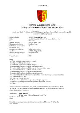 Návrh Závěrečný účet Městyse Moravská Nová Ves za rok 2014