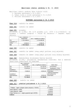 komentář k mezitímní účetní závěrce k 31.3.2015