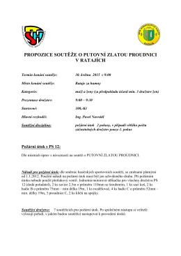 Propozice soutěže o putovní zlatou proudnici 2015