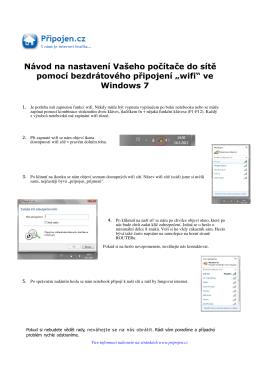 Podrobný návod připojení přes wifi