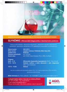 GLYKÉMIE: diferenciální diagnostika a biochemická podstata