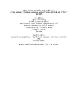 Obec Kublov uskuteční dne 10.10.2015 SVOZ NEBEZPEČNÉHO