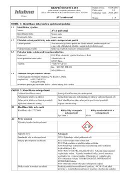 Bezpečnostní list - PEMA Velkoobchod drogerie