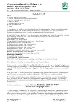 Oběžník I/2015 - Okresní myslivecký spolek VSETÍN