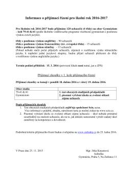 Informace o přijímací řízení pro školní rok 2016-2017