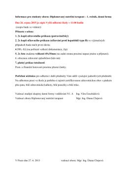 Informace pro studenty oboru: Diplomovaný nutriční terapeut – 1