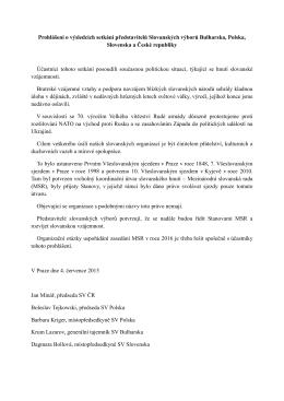 Prohlášení o výsledcích setkání představitelů Slovanských výborů