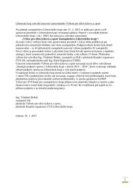 Liberecký kraj schválil ustavení samostatného Výboru pro