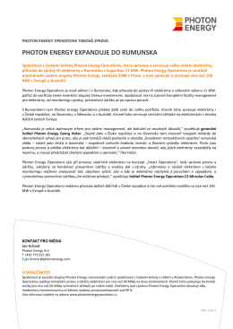 PHOTON ENERGY INVESTMENTS PRESSEMELDUNG