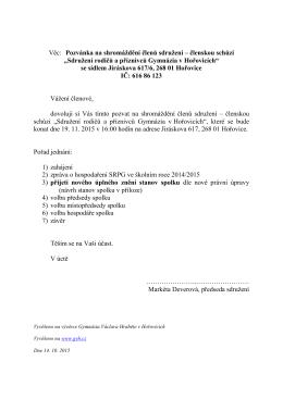 Věc: Pozvánka na shromáždění členů sdružení