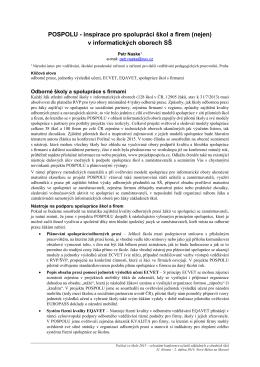 POSPOLU - inspirace pro spolupráci škol a firem