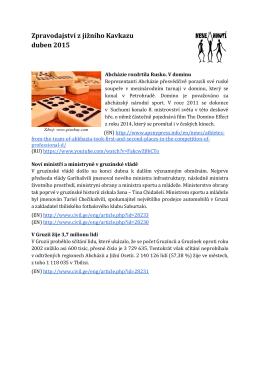 Zpravodajství z jižního Kavkazu duben 2015