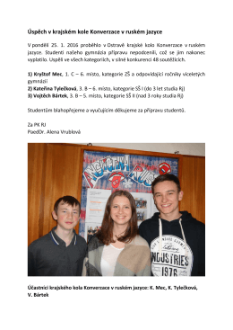 Úspěch v krajském kole Konverzace v ruském jazyce