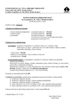 Kritéria hodnocení PZ 2015-2016