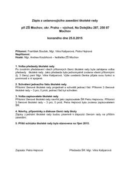 Zápis ze zasedání školské rady srpen 2015