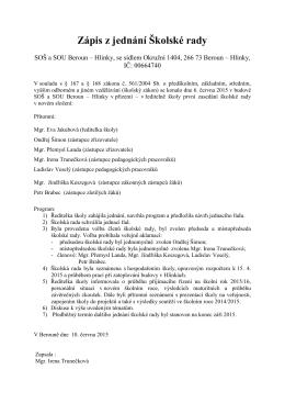 Zápis z jednání Školské rady – červen 2015
