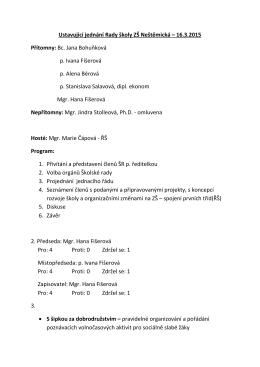 Ustavující jednání Rady školy ZŠ Neštěmická – 16.3.2015 Přítomny