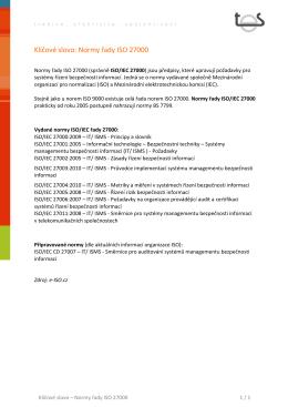 Klíčové slovo: Normy řady ISO 27000