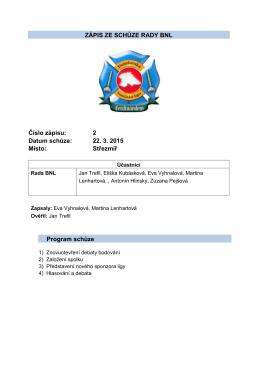 ZÁPIS ZE SCHŮZE RADY BNL Číslo zápisu: 2 Datum schůze: 22. 3