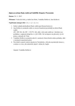Zápis ze schůze Rady rodičů při GaSOŠe Vimperk, Pivovarská
