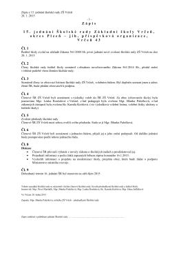 Zápis z 15. jednání školské rady