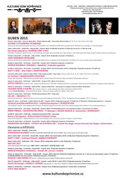 plakát duben 2015 - Kulturní dům Kopřivnice