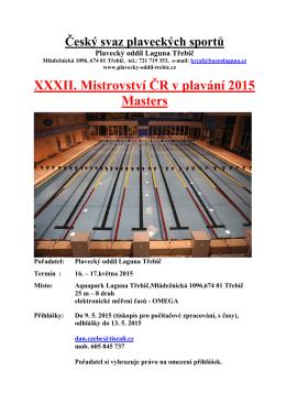 XXXII. Mezinárodní mistrovství ČR v plavání Masters