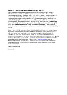 Směrnice k letní sezoně dálkového plavání pro rok 2015