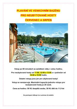 plavání ve venkovním bazénu pro neubytované