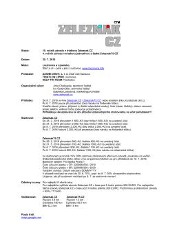Statut: 10. ročník závodu v triatlonu Zeleznak.CZ 4. ročník závodu v