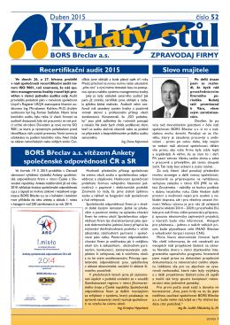 Duben 2015 číslo 52 BORS Břeclav a.s. ZPRAVODAJ FIRMY Slovo