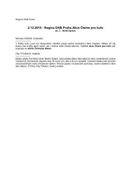 2.12.2015 - Regina DAB Praha Akce Čteme pro kuře