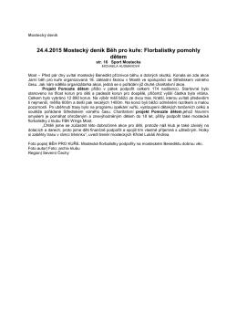 24.4.2015 Mostecký deník Běh pro kuře Florbalistky pomohly dětem