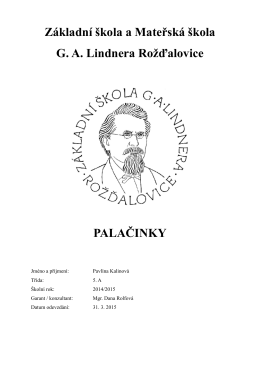 Kalinová Pavlína - Základní škola a Mateřská škola Rožďalovice