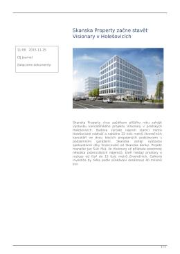 Skanska Property začne stavět Visionary v Holešovicích
