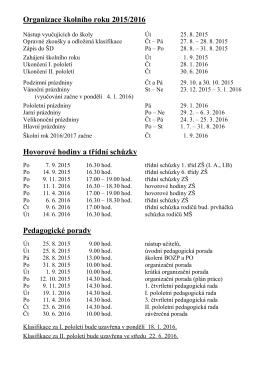 Organizace školního roku 2015/2016