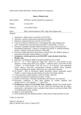 Zápis ze zasedání Školské rady 16. října 2015