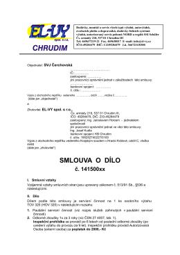 EL-VY Návrh servisní smlouvy