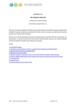 Směrnice úhrady nákladů 2015